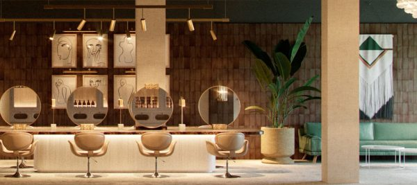 Imagen del interior de la peluquería Sagoa, cubierta de nuestro ladrillo de barro personalizado