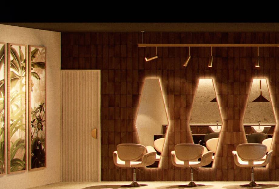 Imagen de la peluquería Sagoa, decorada por el estudio Madrid in Love
